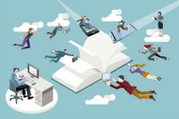 Publishing company staff flying toward an open book and working in it.