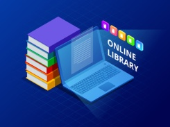 Online Learn or E-book library . Laptop computer with library books. Innovative education and technology. Vector illustration.